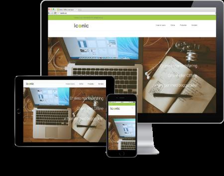 skærme der viser samme online hjemmeside i forskellige størrelser